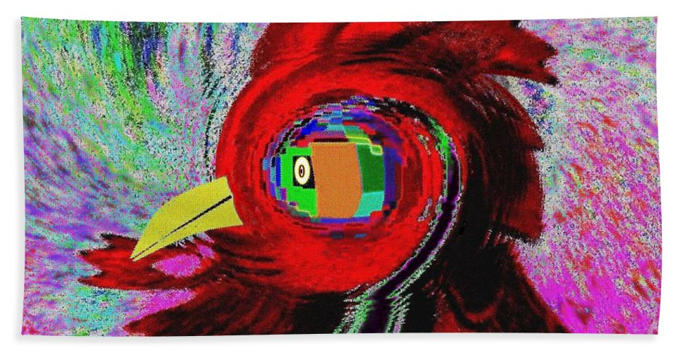 Abstract Bath Sheet featuring the digital art Big Fat Red Hen by Will Borden