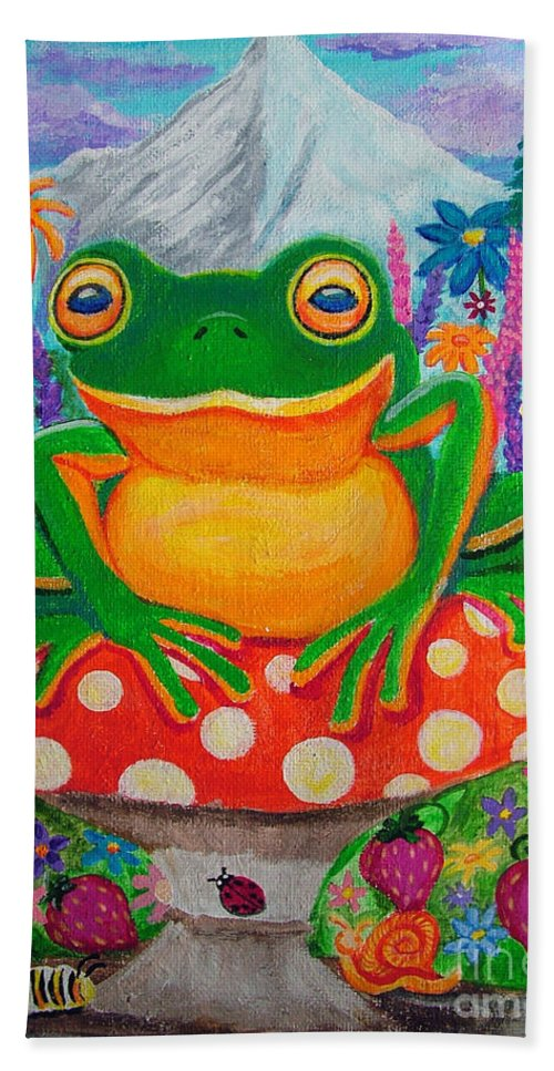 Frog Hand Towel featuring the painting Big Green Frog On Red Mushroom by Nick Gustafson
