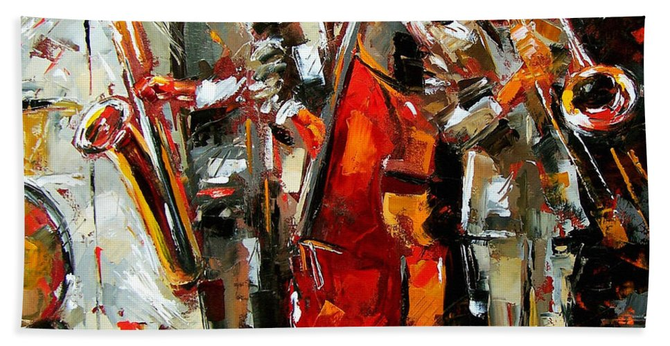 Jazz Hand Towel featuring the painting Big Jazz by Debra Hurd