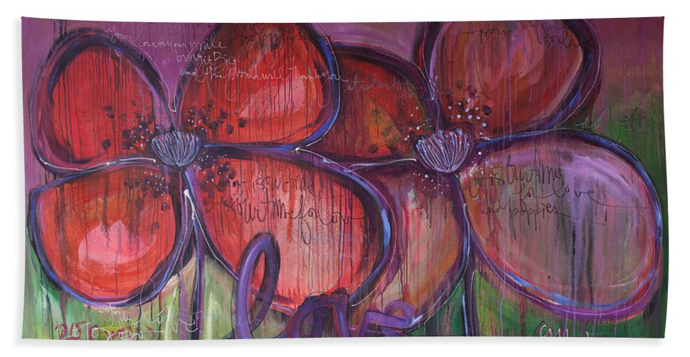 Poppies Hand Towel featuring the painting Big Love Poppies by Laurie Maves ART