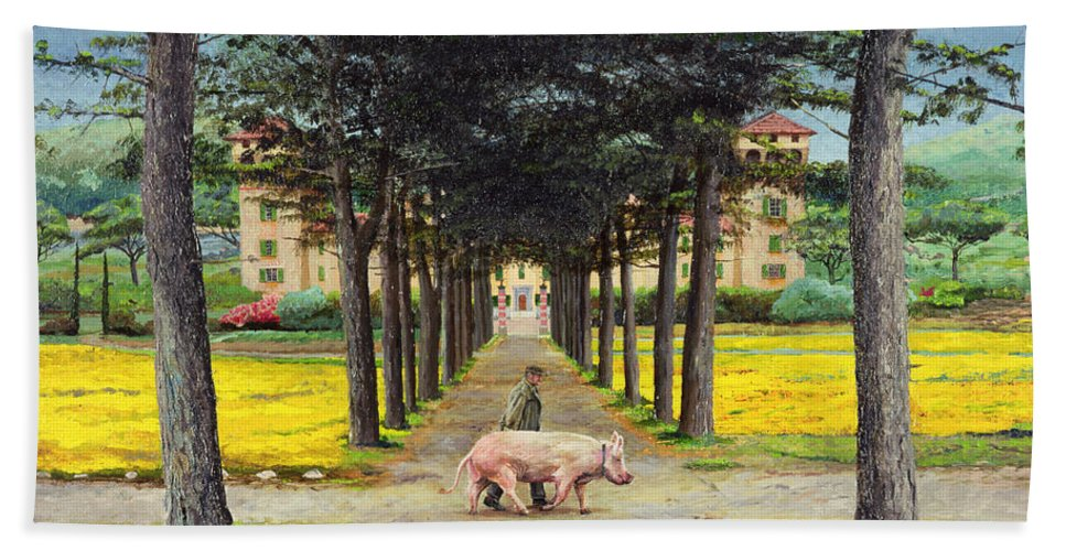 Farmer; Villa; Landscape; Italian; Italy; Animal; Pig; Big Pig; Tree; Trees; Tuscany; Pistoia Hand Towel featuring the painting Big Pig - Pistoia -tuscany by Trevor Neal