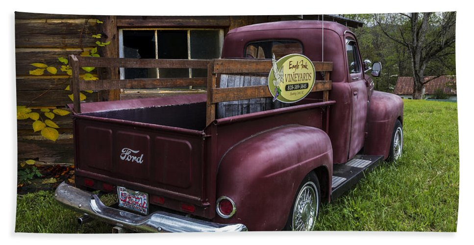 1950 Bath Sheet featuring the photograph Big Red Ford Truck by Debra and Dave Vanderlaan