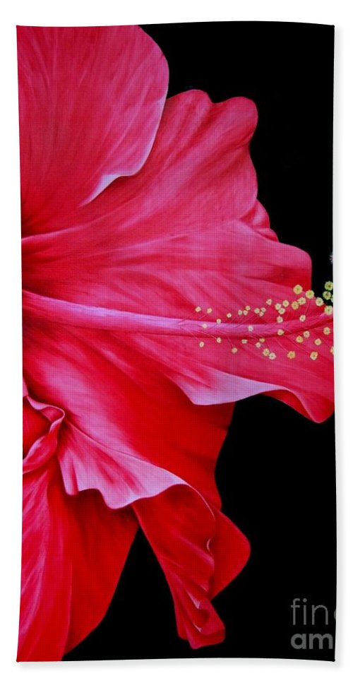 Red Flowers Bath Sheet featuring the painting Big Red by Mary Deal