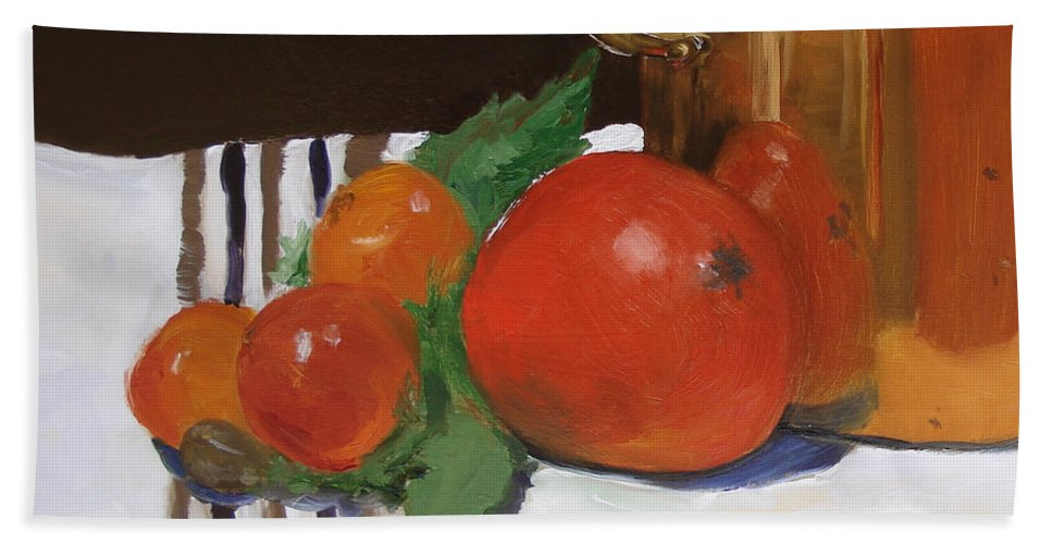 Still Life Bath Sheet featuring the painting Big Red Tomato by Barbara Andolsek