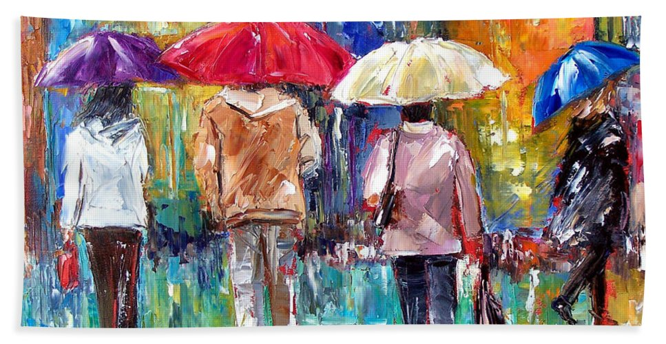 Rain Hand Towel featuring the painting Big Red Umbrella by Debra Hurd