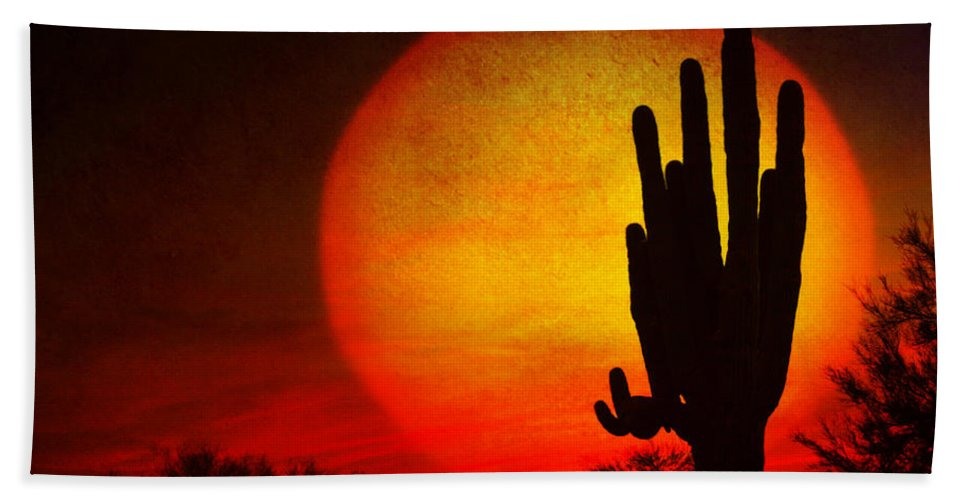 Arizona Hand Towel featuring the photograph Big Saguaro Sunset by James BO Insogna