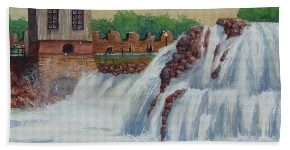 Waterfall Bath Sheet featuring the painting Big Sioux Falls by James Heroux