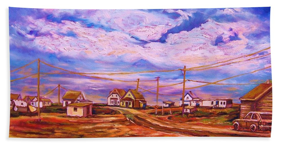 Cloudscapes Bath Towel featuring the painting Big Sky Red Earth by Carole Spandau