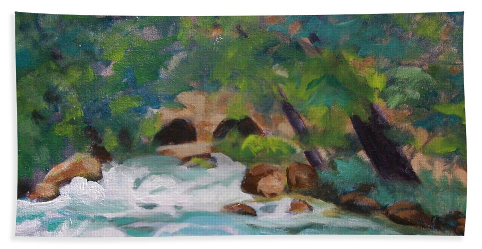 Impressionistic Bath Towel featuring the painting Big Spring On The Current River by Jan Bennicoff