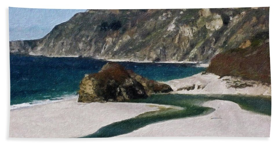 California Hand Towel featuring the painting Big Sur California by Teresa Mucha