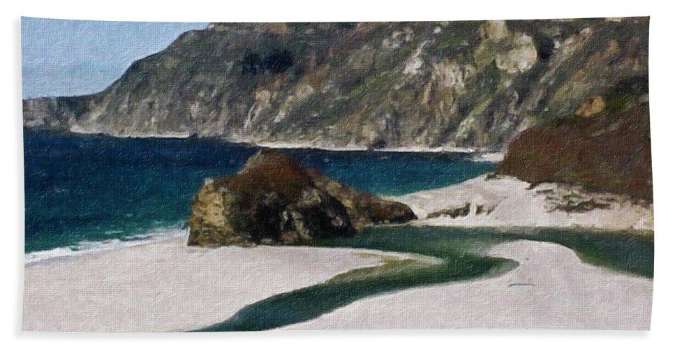 California Bath Sheet featuring the painting Big Sur California by Teresa Mucha