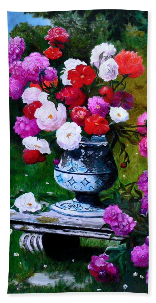 Stilllife Bath Towel featuring the painting Big Vase With Peonies by Helmut Rottler