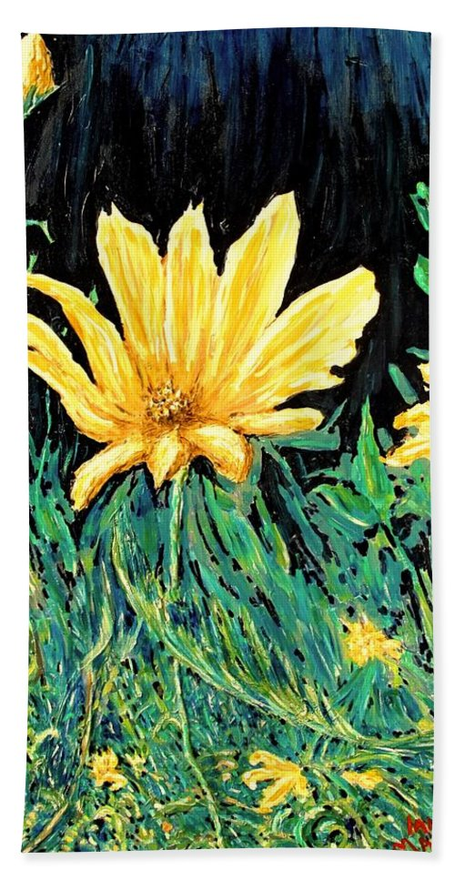 Flower Bath Towel featuring the painting Big Yellow by Ian MacDonald