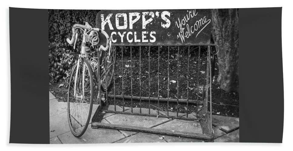 Vintage Hand Towel featuring the photograph Bike At Kopp's Cycles Shop In Princeton by Ben and Raisa Gertsberg