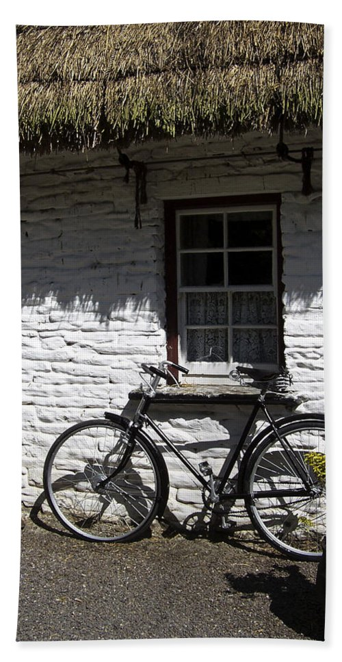 Irish Bath Towel featuring the photograph Bike At The Window County Clare Ireland by Teresa Mucha