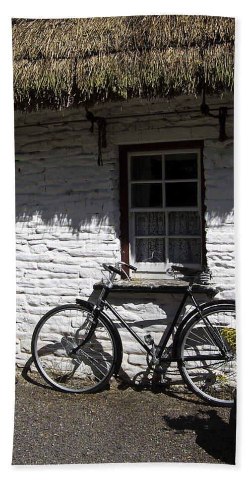 Irish Bath Sheet featuring the photograph Bike At The Window County Clare Ireland by Teresa Mucha