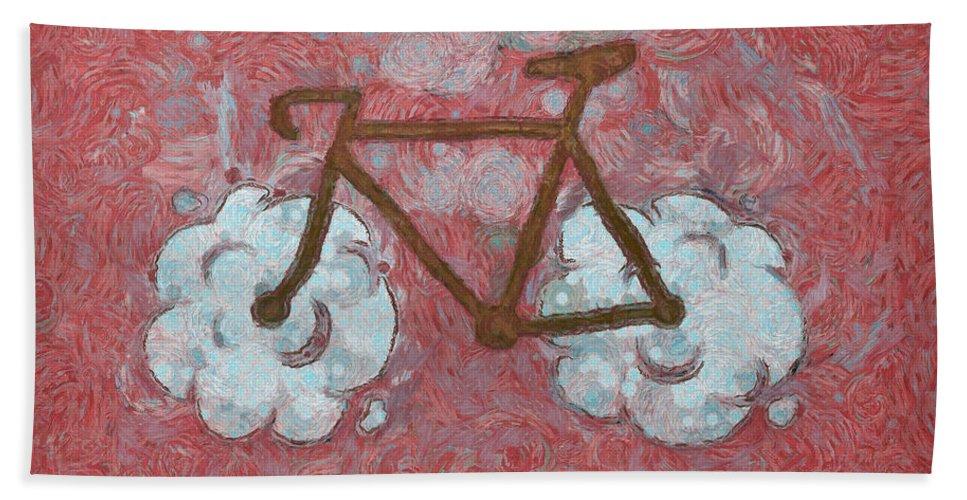 Bike Hand Towel featuring the digital art Bike-cloud Red - Da by Leonardo Digenio