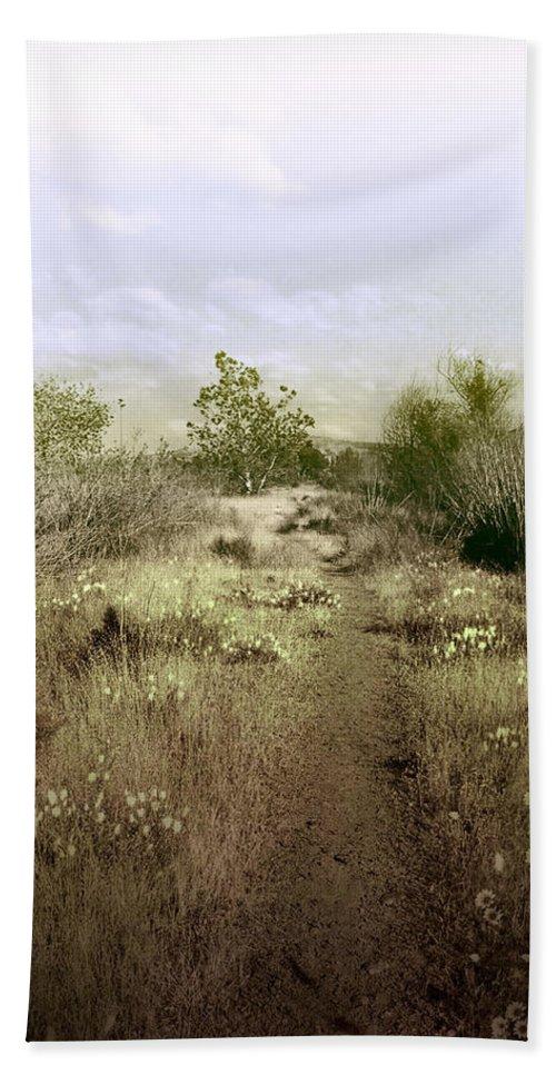 Landscape Bath Towel featuring the photograph Bike Path Brown by Karen W Meyer