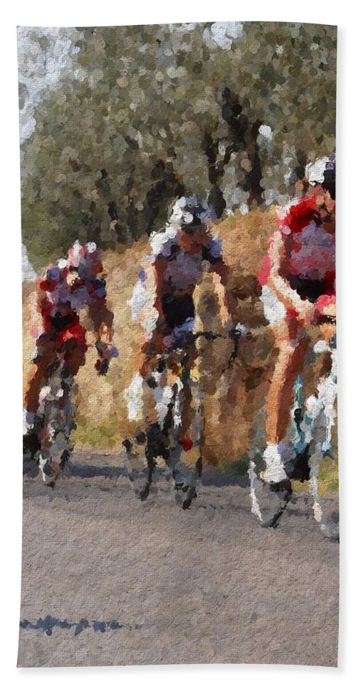 Italy Hand Towel featuring the photograph Bike Race by Modern Art