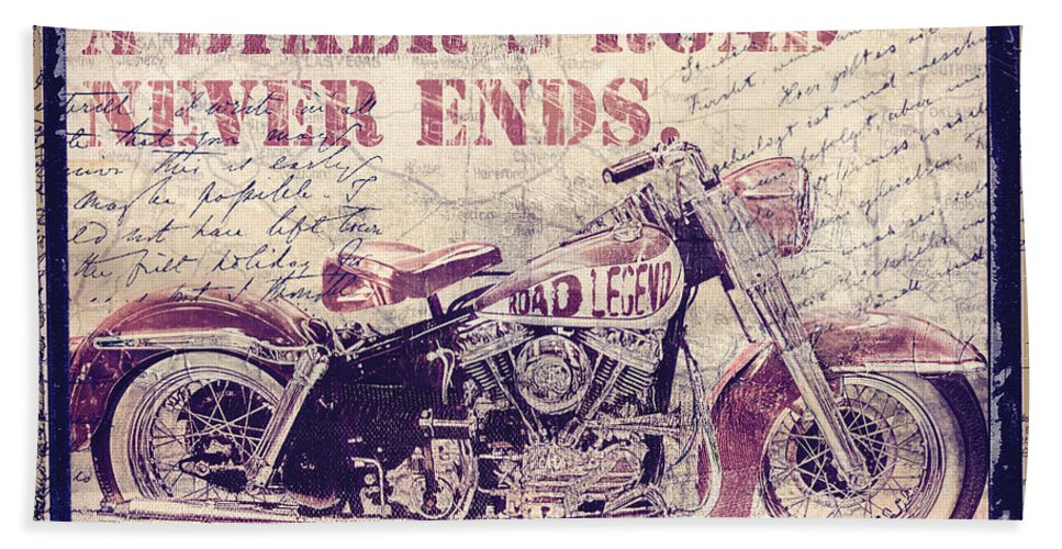 Mancave Bath Sheet featuring the painting Biker's Road Never Ends by Mindy Sommers