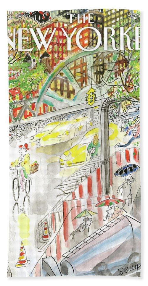 Biking In The Rain Bath Sheet featuring the painting Biking In The Rain by Jean-Jacques Sempe