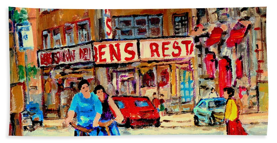 Montreal Hand Towel featuring the painting Biking Past Ben by Carole Spandau