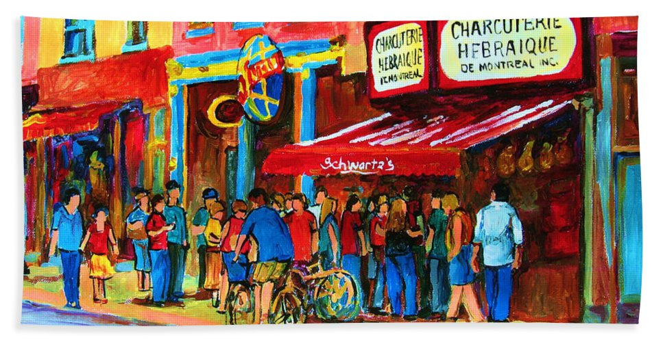 Schwartzs Smoked Meat Deli Bath Towel featuring the painting Biking Past The Deli by Carole Spandau