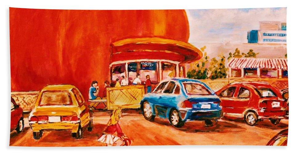 Cityscenes Hand Towel featuring the painting Biking Past The Orange Julep by Carole Spandau