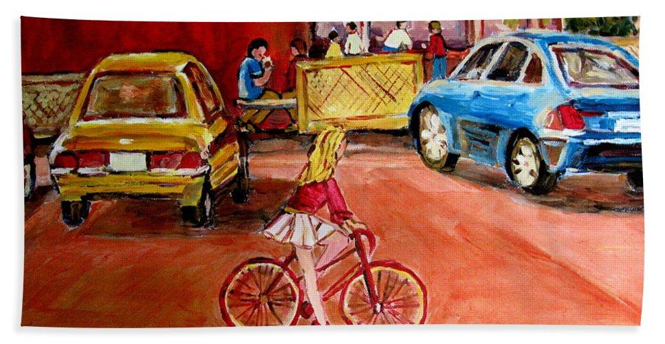 Orange Julep Bath Sheet featuring the painting Biking To The Orange Julep by Carole Spandau