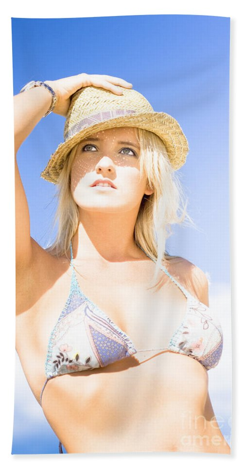 Background Hand Towel featuring the photograph Bikini Lady Against Blue Sky Background by Jorgo Photography - Wall Art Gallery