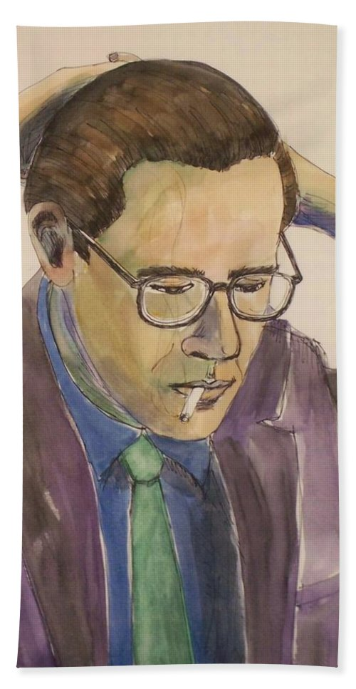 Bill Evans Bath Towel featuring the mixed media Bill Evans by Anita Burgermeister