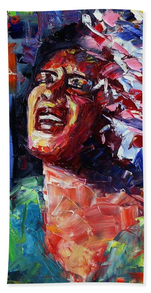 Jazz Hand Towel featuring the painting Billie Holiday Live by Debra Hurd