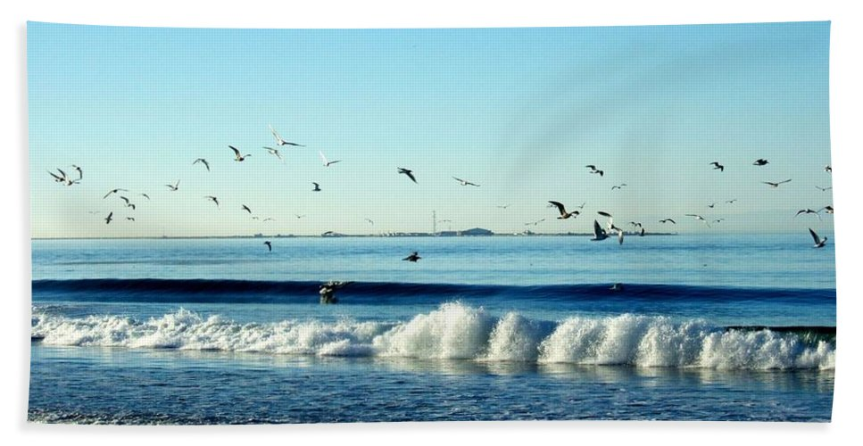 Seagulls Hand Towel featuring the photograph Billowing White Waves And Seagulls by Delores Malcomson