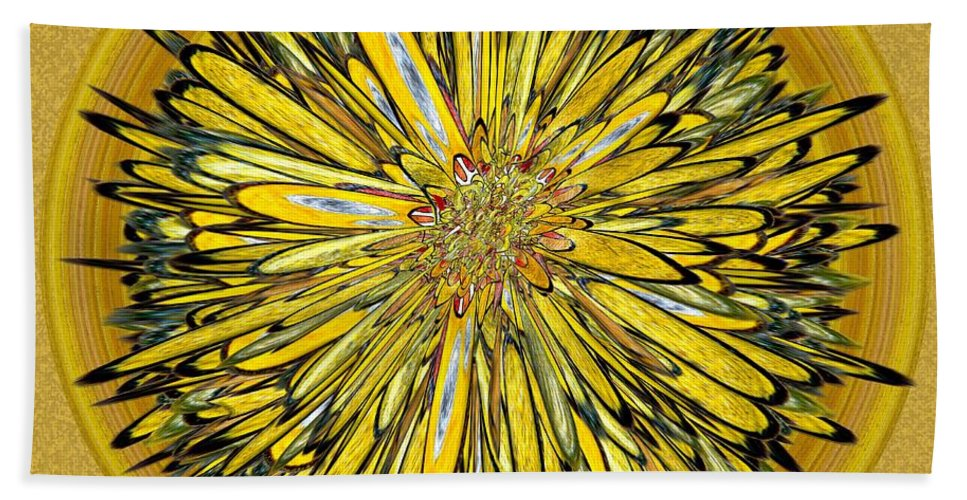 Abstract Bath Sheet featuring the digital art Billy Jean -- Floral Disk by Mark Sellers