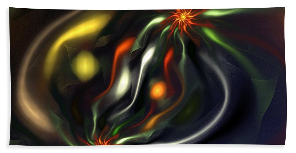 Digital Painting Bath Sheet featuring the digital art Binary Attractors by David Lane