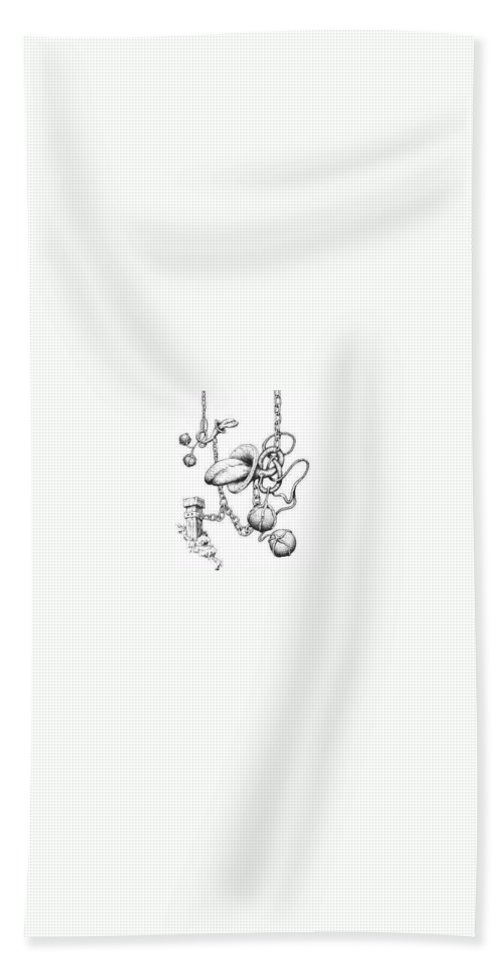 Relationahip Bath Towel featuring the drawing Binding Relationship by Sam Sidders