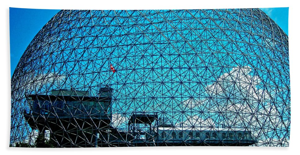 North America Bath Towel featuring the photograph Biosphere Montreal by Juergen Weiss