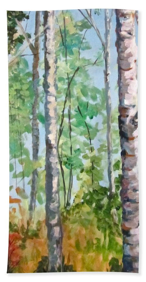 Landscape Hand Towel featuring the painting Birch by Barbara O'Toole