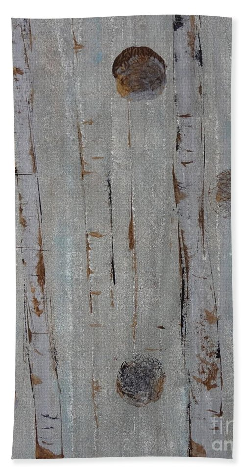 Land Hand Towel featuring the painting Birch - Fog 2 by Jacqueline Athmann