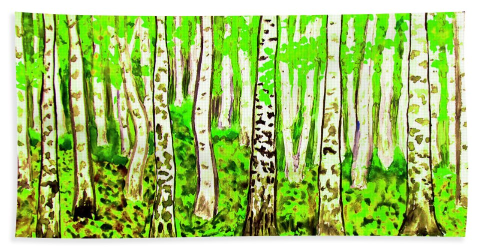 Art Bath Sheet featuring the painting Birch Forest, Painting by Irina Afonskaya