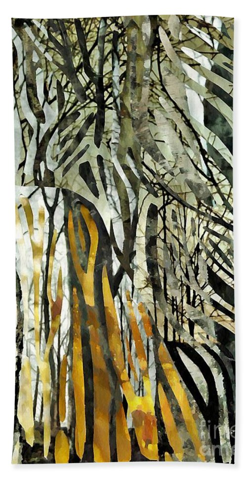 Birch Trees Hand Towel featuring the mixed media Birch Forest by Sarah Loft