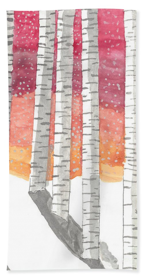 Art Bath Sheet featuring the painting Birch In The Snow by Karlie White