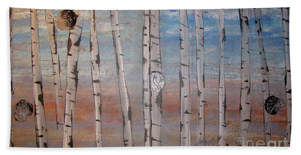 Land Hand Towel featuring the painting Birch Trees - Clouds by Jacqueline Athmann