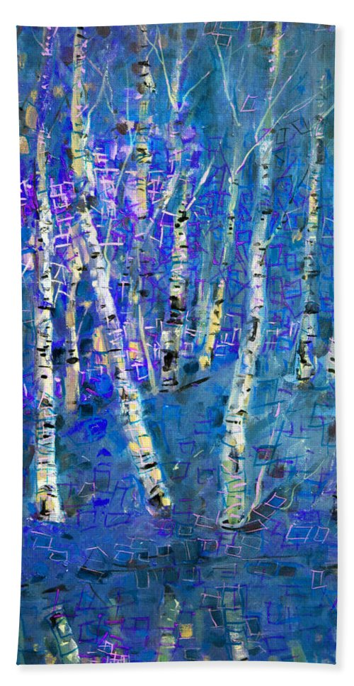 Birch Tree Bath Sheet featuring the painting Birch Trees 3 by Viola El