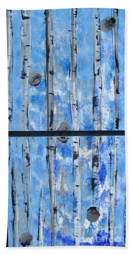 Land Hand Towel featuring the painting Birch Trees - Blue by Jacqueline Athmann