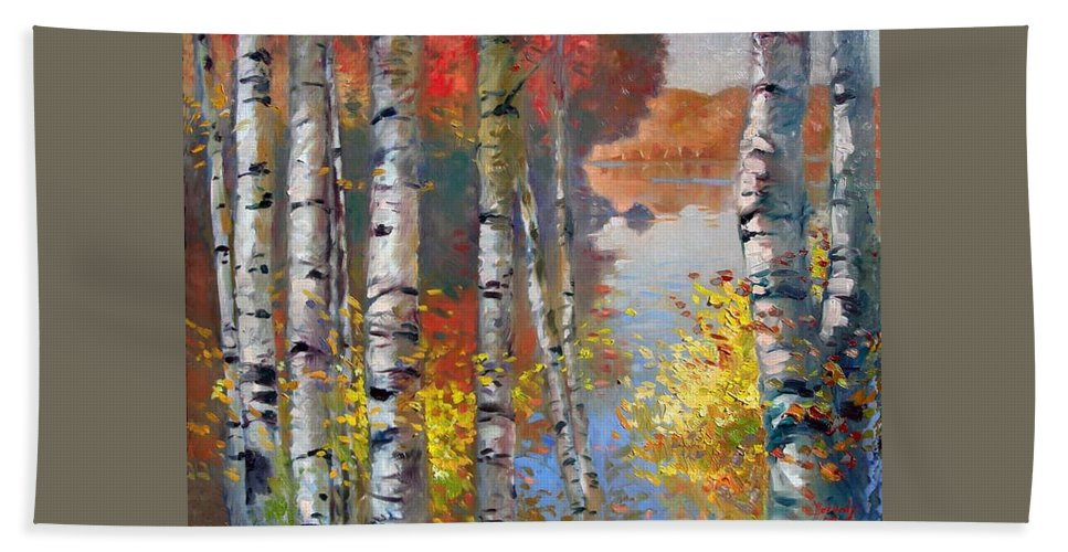 Landscape Hand Towel featuring the painting Birch Trees By The Lake by Ylli Haruni