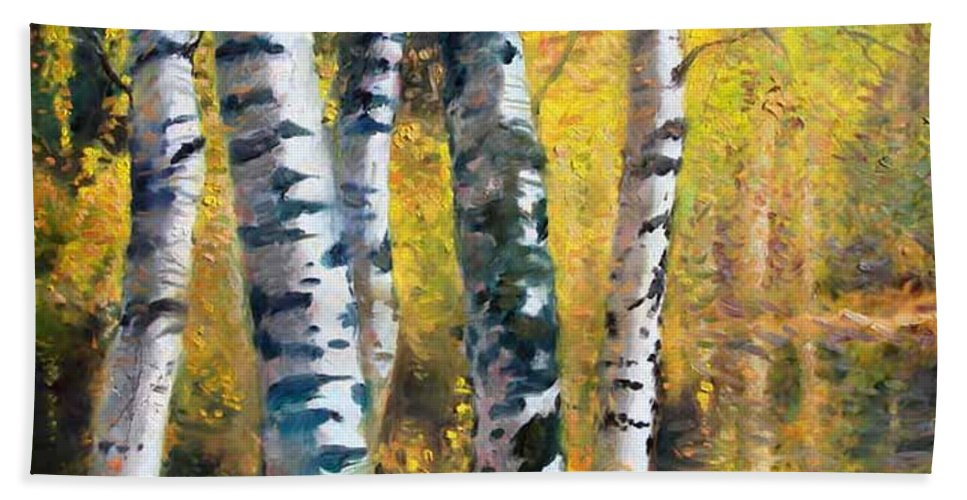 Landscape Bath Towel featuring the painting Birch Trees In Golden Fall by Ylli Haruni