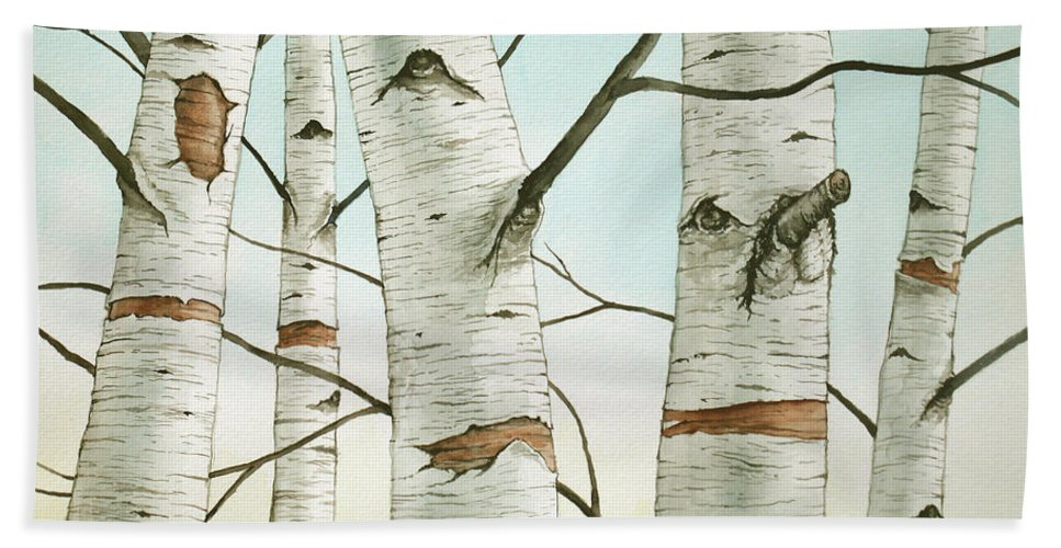 Birch Tree Bath Sheet featuring the painting Birch Trees In Late Autumn by Christopher Shellhammer