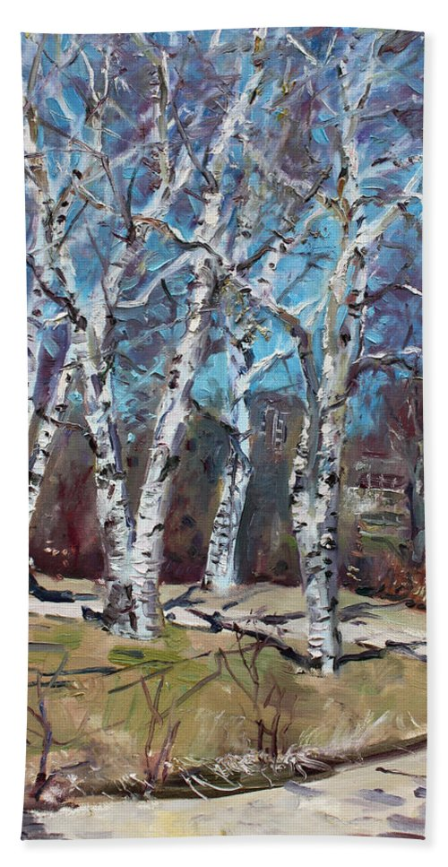 Landscape Bath Sheet featuring the painting Birch Trees Next Door by Ylli Haruni