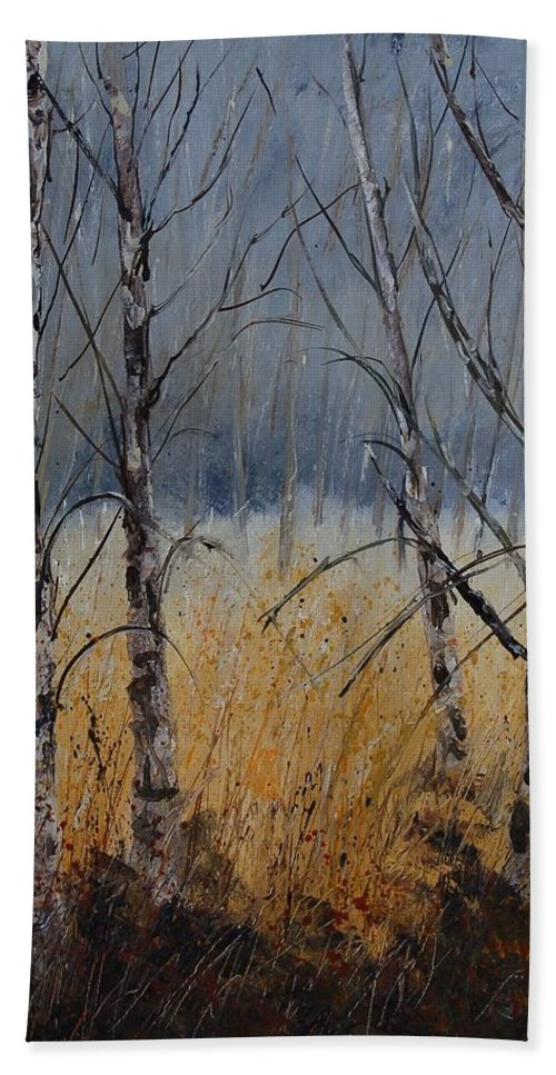 Winter Hand Towel featuring the painting Birch Trees by Pol Ledent